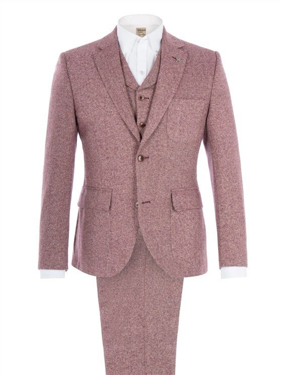 Red Contrast Donegal Suit