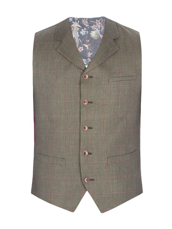Green Windowpane Check Waistcoat- currently unavailable