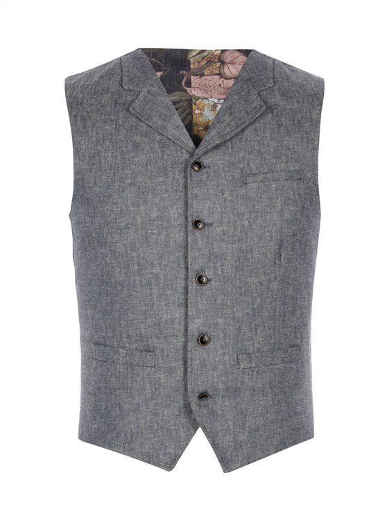 Light Blue Denim Look Waistcoat