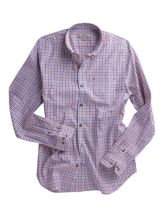 Navy And Orange Check Shirt