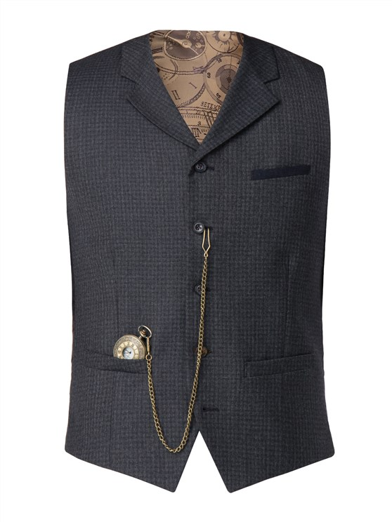 Blue muted check Waistcoat