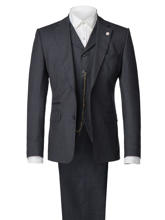 Blue Muted Check Suit