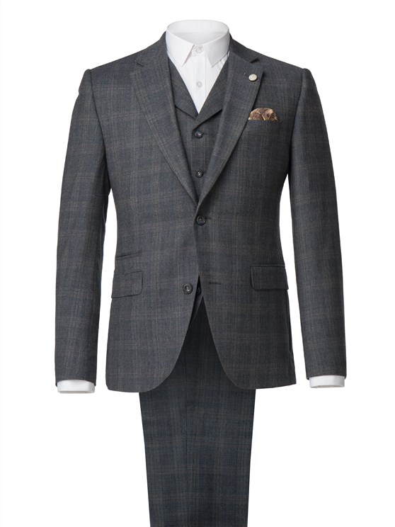 Grey with Blue Muted Check Suit
