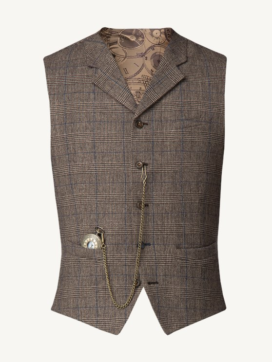 Fawn Prince of Wales Check with Blue Over Check Waistcoat