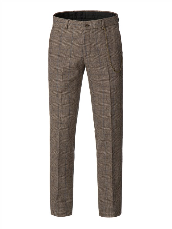 Fawn Prince of Wales Check with Blue over check trousers