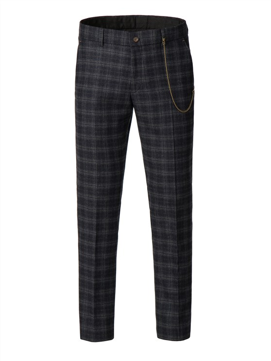 Blue and orange soft check trousers