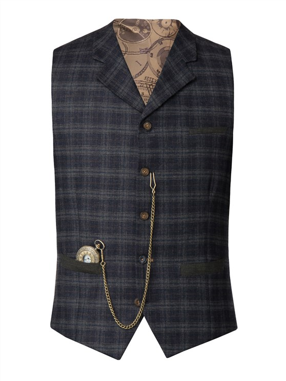 Blue and orange soft check waistcoat