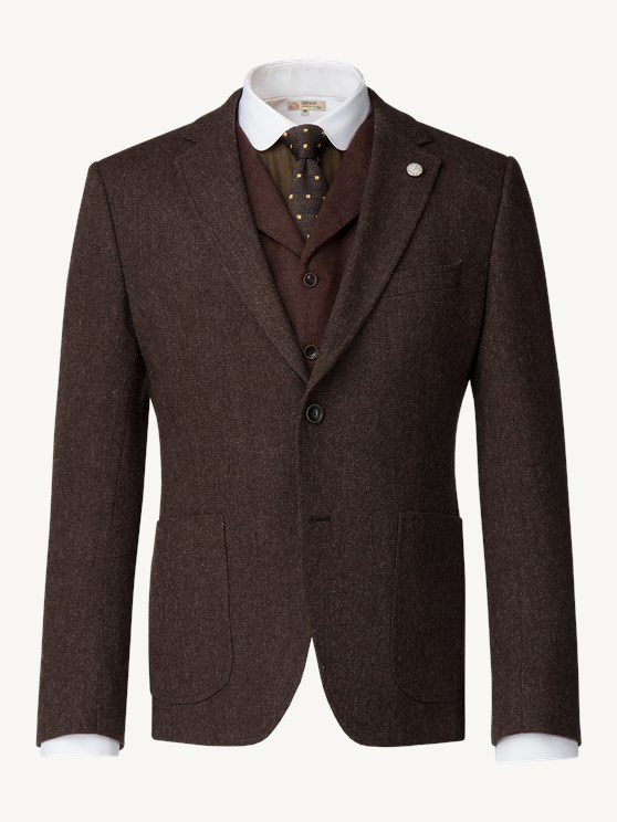 Brown Textured weave wool Jacket