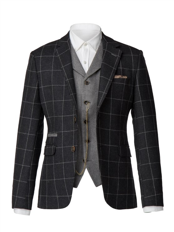 Charcoal with light grey window pane check jacket