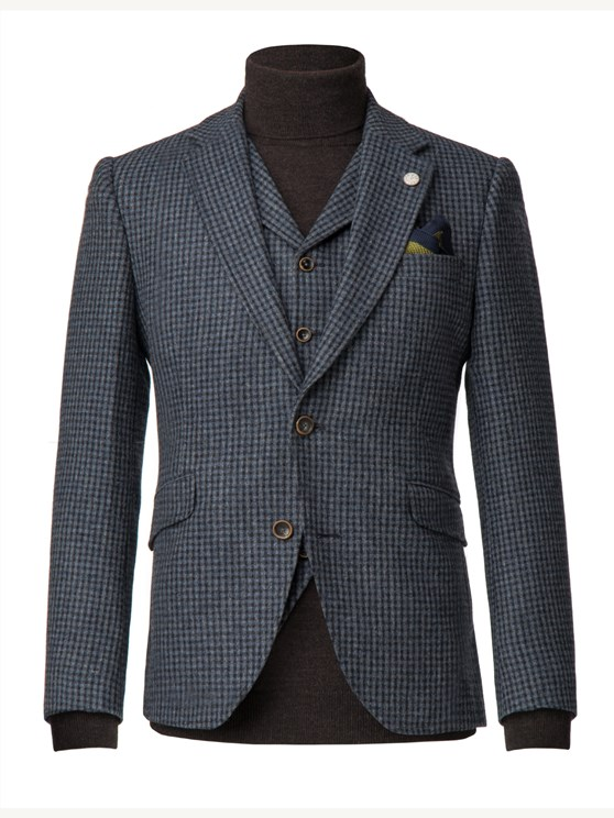 Blue muted check wool jacket