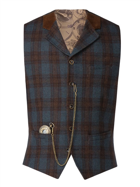 Blue teal and tan check waistcoat