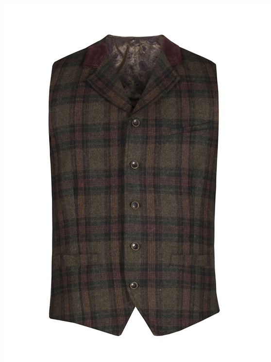Green and Burgundy check waistcoat