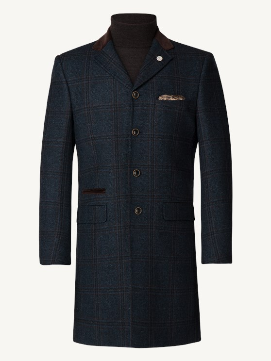 Navy Check Heavy Wool Coat- currently unavailable