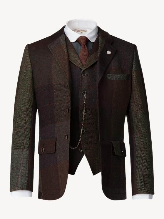 Green and brown wool large check jacket