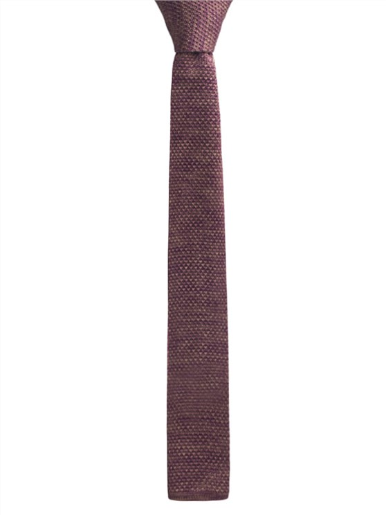 Burgundy and Camel melange knitted tie- currently unavailable
