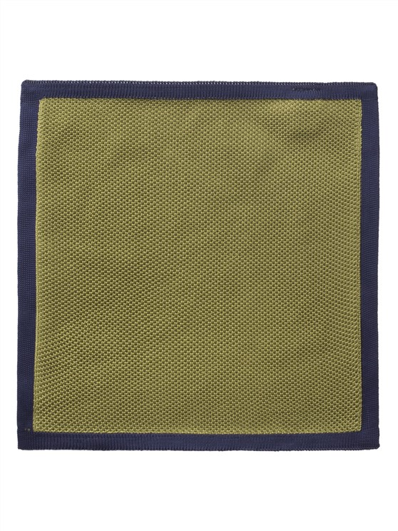 Green with Navy Trim Knitted Hankie