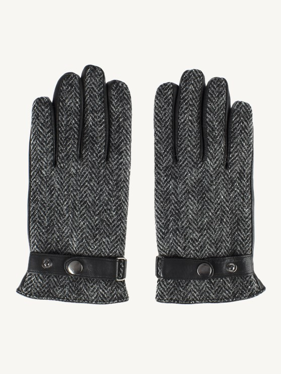 Grey Harris Tweed and Black Leather Gloves