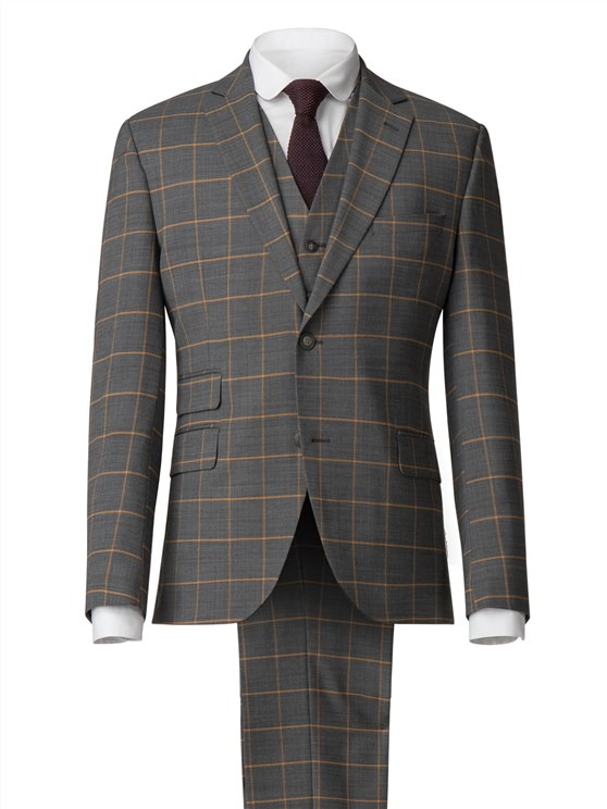 Charcoal Suit With Apricot Check