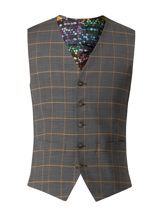Charcoal Waistcoat With Apricot Check