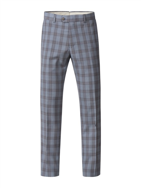 Pale Blue Check Trousers