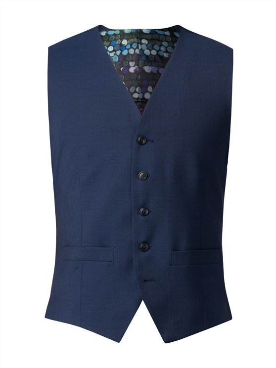 Bright Blue Diamond Effect Waistcoat