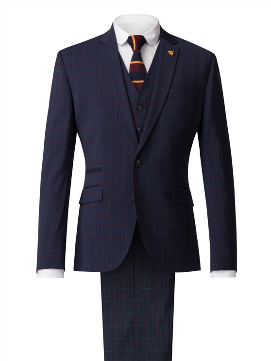 Navy Jacket With Soft Red Check