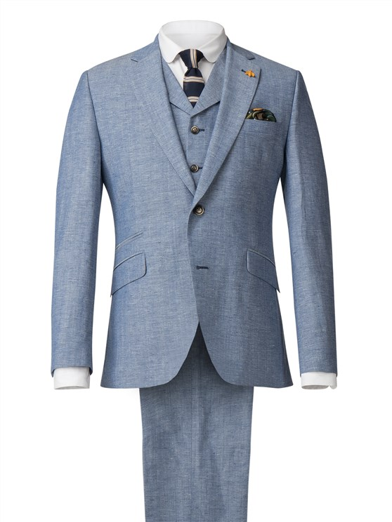 Pale Blue Jacket With Linen Flec