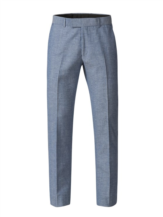 Pale Blue Trousers With Linen Flec