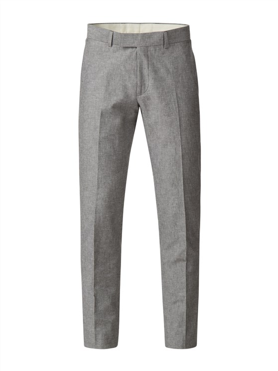 Grey Linen Blend Trousers