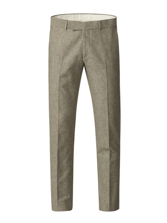 Green Linen Blend Trousers
