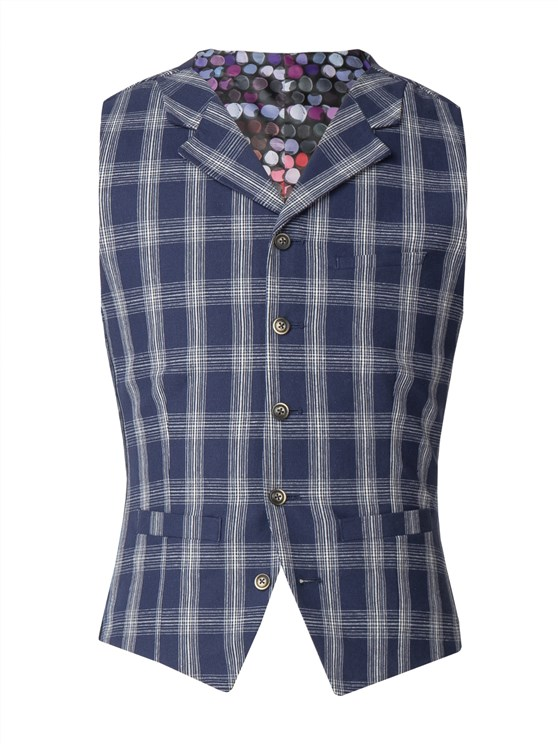 Navy With White Check Waistcoat