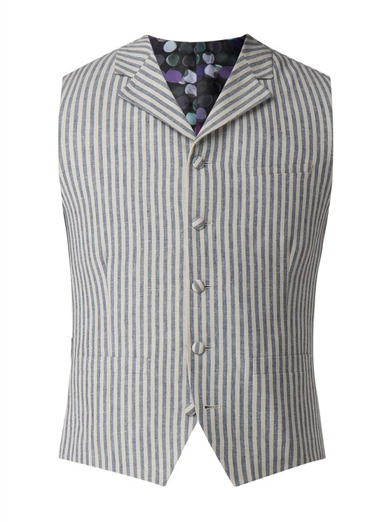 Blue and White Stripe Waistcoat