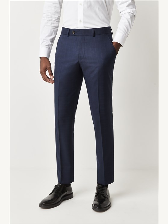 Navy Blue Check Trousers