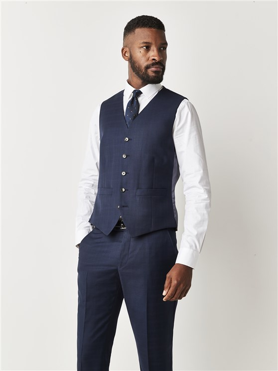 Navy Blue Checked Slim Fit Waistcoat