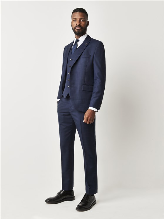 Harland Navy Blue Checked Tailor Fit Suit Jacket