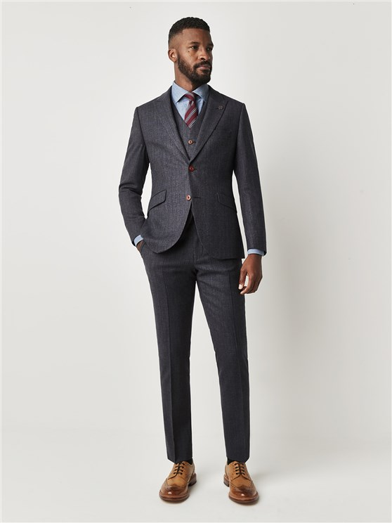 Hungerford Charcoal Textured Slim Fit Suit