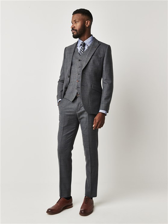 Hudson Grey Textured Slim Fit Suit