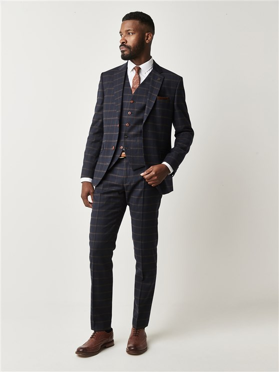 Mayfair Navy and Coffee Check Slim Fit Suit