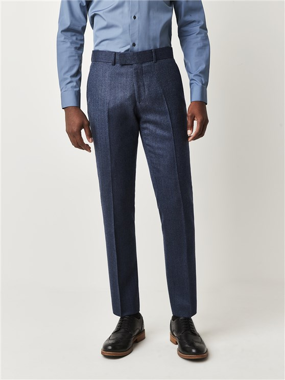 Fleetway Blue Herringbone Slim Fit Trousers