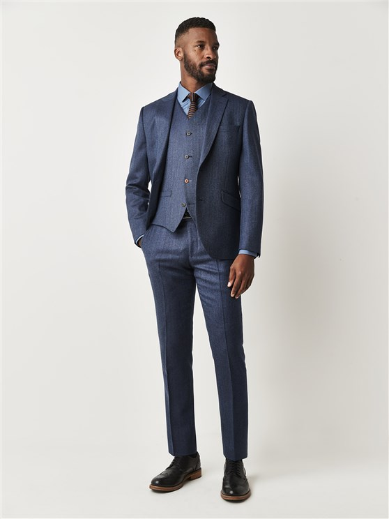 Fleetway Blue Herringbone Slim Fit Suit