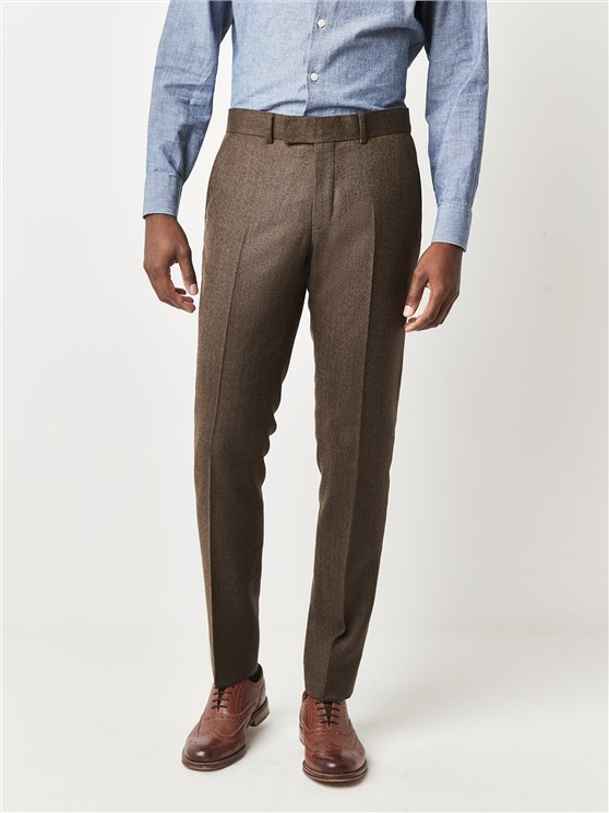 Gibaon Southbank Terrace Coffee Herringbone Slim Fit Trousers