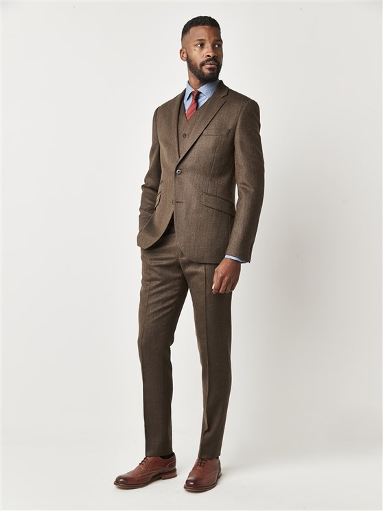 Southbank Terrace Coffee Herringbone Slim Fit Suit