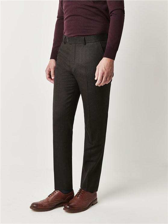 Green Brown Herringbone Trousers