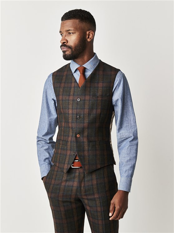 Oxford Marquee Green Tartan Check Slim Fit Waistcoat