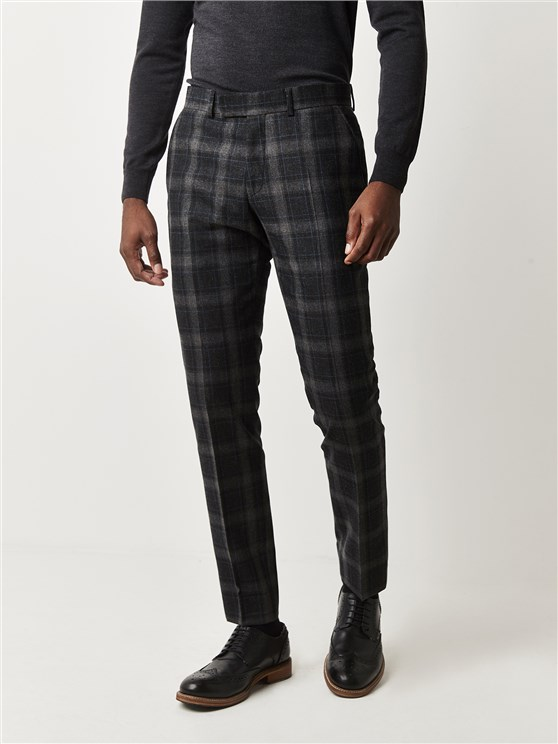 Stirling Charcoal Tartan Checked Slim Fit Trousers