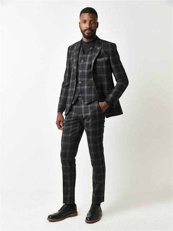Stirling Charcoal Tartan Checked Slim Fit Suit