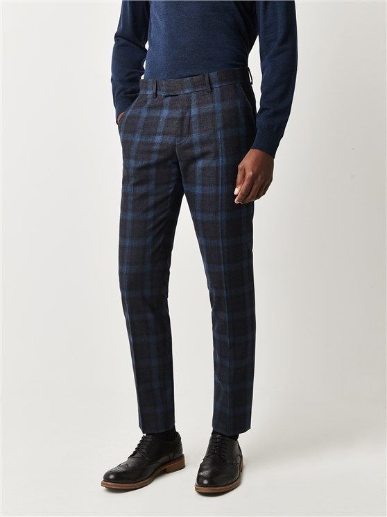Gresley Blue Tartan Check Slim Fit Trousers