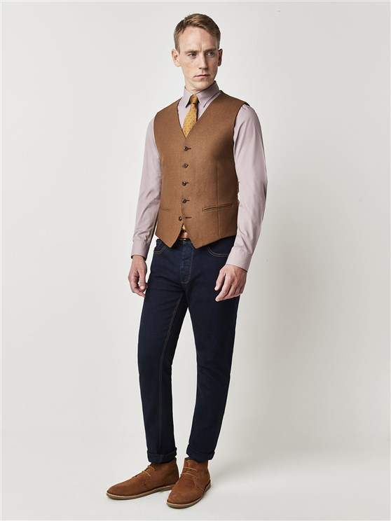 Camel Textured Slim Fit Waistcoat