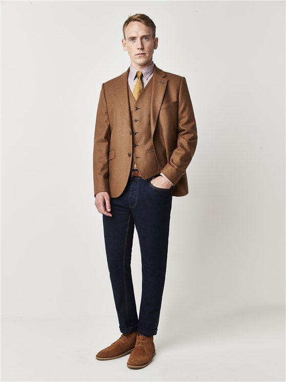 Camel Textured Tailor Fit Jacket