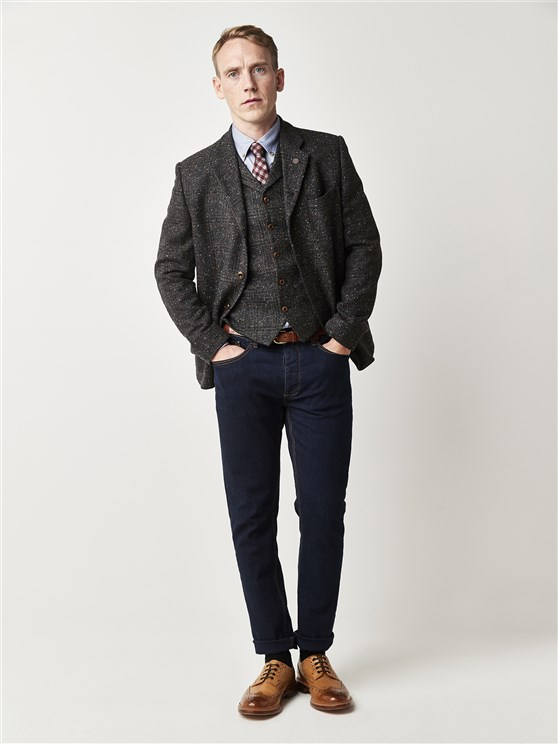 Charcoal Checked Tailor Fit Jacket
